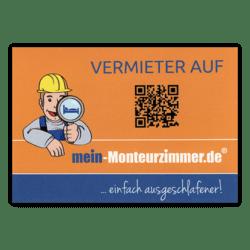 """Aufkleber """"Vermieter auf mein-Monteurzimmer.de"""" (A7, wetterfest)"""