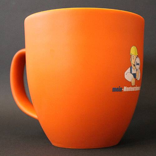 Tasse (450 ml, orange, Porzellan)